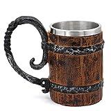 GuoShuang Viking wood style Beer mug ,Viking Cup, Wooden Gift Antique Men's Barrel Capacity: 18.60oz (550ml)