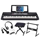 Moukey MEK-200 Electric Keyboard Portable Piano Keyboard Music Kit with Stand, Bench, Headphone, Microphone & Sticker, 61 Key Keyboard, Black (Renewed)