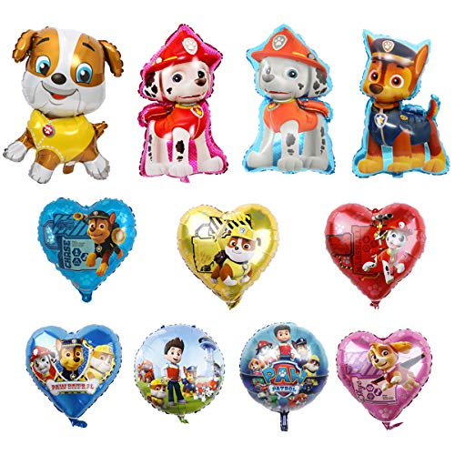 11 Pcs Paw Dog Patrol Helium Foil Balloons,Dog Theme Birthday Party Decoration for Kids