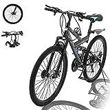 Lroplie R2 Commuter Aluminum Road Bike 21 Speed Bicycle Full Suspension MTB, 26in Carbon Steel Mountain Bike (Black (26 in 21 Speed))