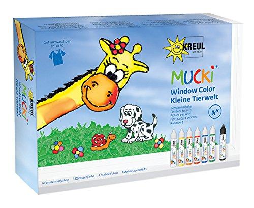 Kreul 24451 - Mucki Window Color Set, Kleine Tierwelt, Fenstermalfarbe auf Wasserbasis, parabenfrei, glutenfrei, laktosefrei, vegan, leicht vermalbar, auswaschbar, 7 x 29 ml Farbe, Folien und Vorlagen