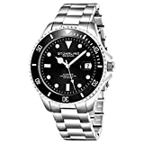 Surgical Grade Stainless Steel Case and Screw Down Exhibition Case Back,Luminous hands and markers Unidirectional rotating bezel Adjustable Solid stainless steel triple-row Removable link Bracelet Miyota/Citizen,3 Hz,21 Jewel Automatic Self Wind Move...