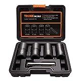 THINKWORK Twist Socket Set Lug Nut Remover Extractor Tool - 5-Piece Metric Bolt and Lug Nut Extractor Socket Tools