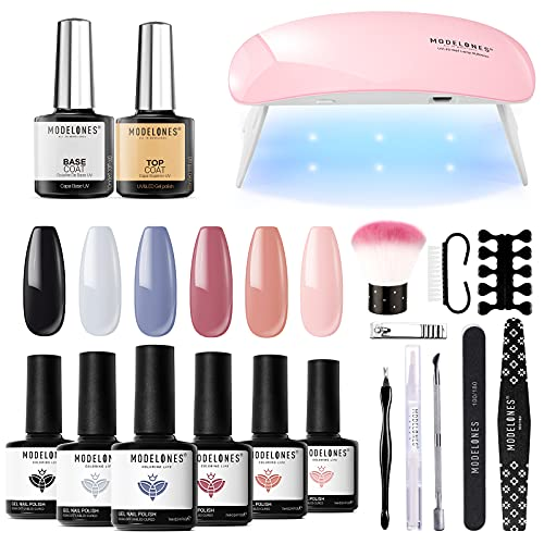 Gel Nail Polish Kit with U V Light, 6 Soak Off Gel Nail Polish INDEPENDENT FEMALE Style, Portable Mini Curing LED Lamp, Gel Manicure Kit for Nail Art Lover Beginner, Gift for Girls by Modelones