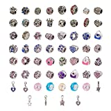 PandaHall Elite 60 Pcs Murano Glass Beads Rhinestone Spacers Metal European Beads Dangle Pendant Charms Fit Snake Style Charm Bracelet Mixed Colors
