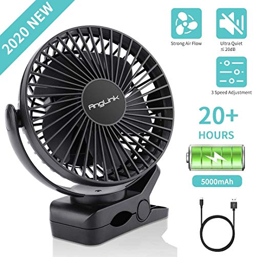 AngLink Mini Clip Ventilator, USB Ventilator mit 5000mAh Batteriebetrieben Mini Tischventilator Fan, 3 Geschwindigkeitsmodi, 360°Rotation, Für Familien, Schule, Büros, Kinderwagen, Camping