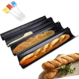 Baguette Pan - 3 Brush Included French Bread Baking Pan Nonstick Perforated Baguette Pan 4 Loaves Loaf Bake Mold Toast Cooking Bakers Molding Black