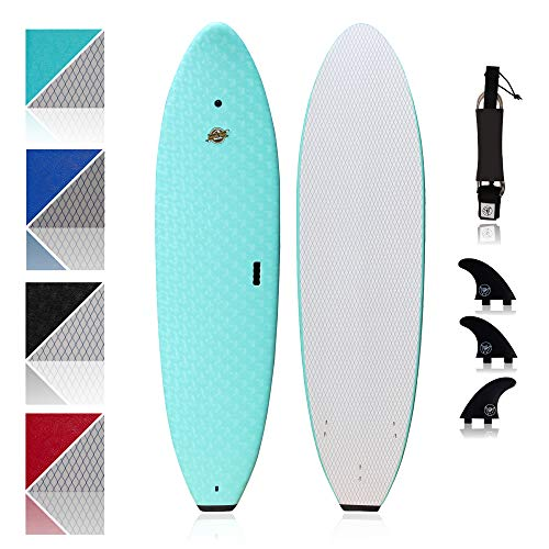 Premium Surfboard for Beginners – Wax-Free Soft-Top Foam Surfboard – 8' Verve Aqua with 3 Thruster Fins, Fin Key, and 7' Leash – Custom Beginner Shape for Easier, Better Surfing for Adults & Kids