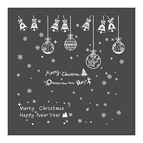 Feliciay 381 pegatinas electrostáticas blancas de Navidad, copos de nieve para ventana, adhesivos reutilizables, decoración de artículos, copos de nieve, adornos colgantes, campanas, Navidad(16 hojas)