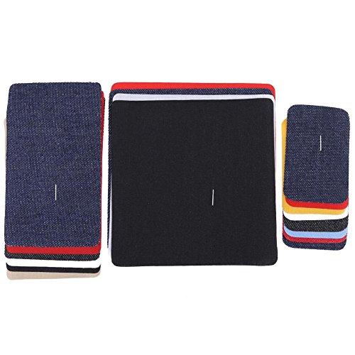 18 Pezzi Toppa termoadesiva Denim Cotone Toppe termoadesive Kit di Riparazione, Denim Toppa termoadesiva No-Sew Sfumature di Jeans in Cotone Jeans Kit di Riparazione, 5-13 cm