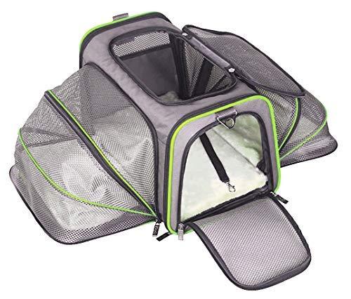 ABISTAB Hundebox faltbar Transportbox Hunde und Katze Transporttasche für Auto- und Flugreisen geeignet Tragetasche Maxi 72cm zweiseitig ausklappbar:2-Grau-Technogrün