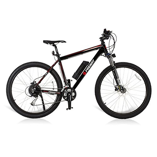 Freway 27 Speed Pedal-Assist Smart Lithium Battery Electric Motor Mountain Bicycle, Black