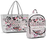Victoria's Secret 2pc set- Graffiti City Backpack & Everything Tote, Gray