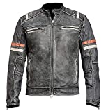 Cafe Racer Jacket Distressed Moto Vintage Black Motorcycle Leather Outerwear