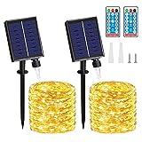 Cadena Luces Solares - 2 Pack 20M/65.6FT 150 LED IP65 Luces Led Solar, 8 Modos con Control Remoto Temporizador Decoracin para Jardn, Arboles, Navidad, Fiestas