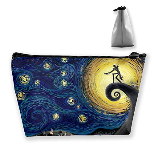Women Dead The Nightmare Before Christmas (The Starry Night) Makeup Bag Cosmetic Bags Hand-held Toiletry Travel Organizer For Girl Make Up Tools Toiletries