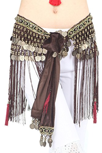 ZLTdream Women's Belly Dance Tribal Hip Scarf with Fringe Coins Flannel