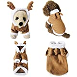 Mogoko Dog Cat Christmas Reindeer Costume, Funny Pet Elk Costumes Cosplay Dress, Puppy Fleece Outfits Warm Hoodie Animal Festival Apparel Clothes ('XL' Size)