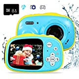 """Kids Camera Waterproof OUKITEL Q1 Digital Underwater Video Camcorder Action Camera Rechargeable with 8G SD Card 2.0"""" for 3-12 Year Old Boys and Girls Birthday Festival Gift-Blue."""