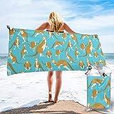 Lawenp Toalla de Playa de Secado rápido, Divertidos Dibujos Animados de Canguro con Estampado de zoológico de Microfibra, Toallas de baño Ligeras, súper absorbentes para niños y Adultos, 27.5 'X55'