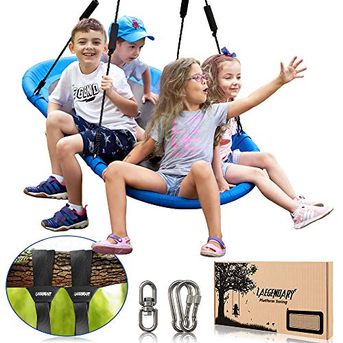 60 Inch Platform Tree Swing for Kids and Adults – Giant Flying Outdoor Indoor Saucer Hammock – Large Surf Tire Swingset Accessories Toys - 2 Straps, 2 Carabiners, 1 Swivel - 350 Lbs Yard Swings Set