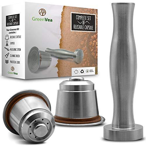 Greenvea - Set completo di capsule di caffè Nespresso ricaricabili e riutilizzabili. Capsule ricaricabili in acciaio inox per caffe e tè. (1 Capsula, Tamper, Guida, Cucchiaio di dosaggio e Spazzola)
