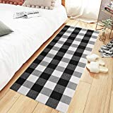 MUBIN Buffalo Plaid Check Runner Rug Reversible 2 x 6 ft Cotton Black and White Checkered Washable Rug for Kitchen/Laundry/Bedroom/Bathroom/Entry (2' x 6', Black&White)