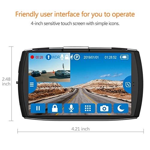 Product Image 2: Z-Edge Dash Cam Front and Rear 4.0″ Touch Screen Dual Dash Cam FHD 1080P with Night Mode, 32GB Card Included,155 Degree Wide Angle, WDR, G-Sensor, Loop Recording, Support 256GB Max
