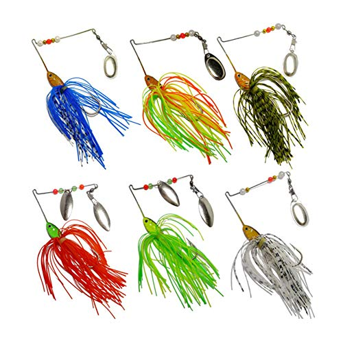 Bass Spinnerbait,6 Pcs Fishing Lures Spinner Baits,Fishing Hard Spinner Lures, Bass Trout Salmon...