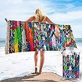 Lawenp Toalla de Playa de Secado rápido, Origami Multicolor Papercraft Cranes Toallas de baño Ligeras de Microfibra Impresas Super Absorbente para niños y Adultos 27.5 'X55'