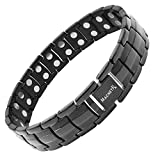 MagnetRX Ultra Strength Magnetic Therapy Bracelet | Arthritis Pain Relief and Carpal Tunnel Magnetic Bracelets for Men | Adjustable with Gift Box (Black)