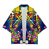Hommes Kimono Style Cardigans,Cape Chemise Créative Kimono à La Mode Unisexe Grande Taille Lâche Manteau Streetwear Traditionnel Japonais,Multicolour-L