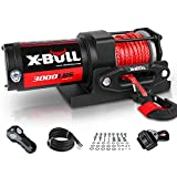 X-BULL 12V 3000LBS Electric Winch Synthetic Rope Electric Winch for Towing ATV/UTV Off Road with Mounting Bracket Wireless Remote New