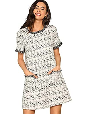 Fabric has no stretch Round neck, short sleeve, frayed edge, pocket front tunic dress Good for spring and fall season, perfect for dating, party, office and formal occasions Wash Recommended With Cold Water / Do Not Bleach