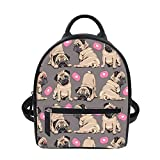 Cozeyat Lovely Pug Printed Girls Mini Backpack Purse Pu Leather Small Travel Daypacks Bag