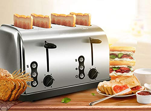 4 Slice Toaster, acciaio inossidabile Extra Largo Slot Toasters con Pannello di controllo...
