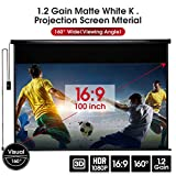 YODOLLA 100' Electric Motorized Projector Screen 1.2 Gain Indoor/Outdoor Movie Screen, Wall/Ceiling Mounted Projector Screen with Remote