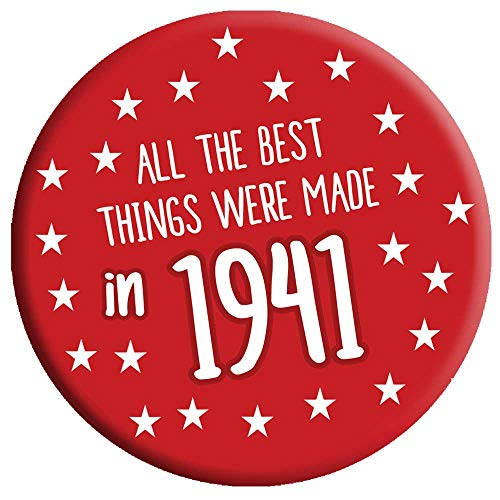 80th Birthday Badge 80 Today 76mm Pin Button Novelty Gift Men Women Made in 1941