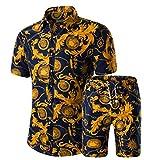 Conjunto de 2 piezas de pantalones cortos de playa para hombre de seguridad, estilo casual, de lino...