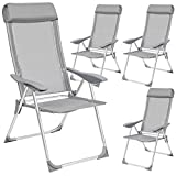 TecTake Lot de 4 Aluminium chaises de Jardin Pliante...