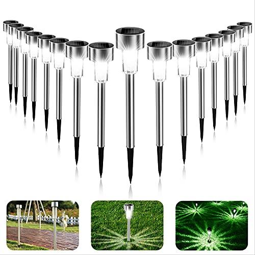 Luces Solares Jardín, 16Pcs IP65 LED Lampara Solares Jardín,...
