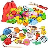 Cadeaux d'anniversaire pour filles de 18-36 mois, enfants tout-petits en bois d'apprentissage jouet de filetage pour fille garçons bébé âge 1 2 3 cadeau éducatif Montessori jouet pour 2 3 4 ans filles