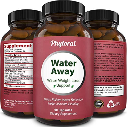Water Away Diuretic Pills - Natural Water Weight Loss Support for Men and Women Fast Acting Bloating Swelling Relief Supplement - Pure Vitamin B6 Dandelion Green Tea Extract 90 Capsules by Phytoral 1
