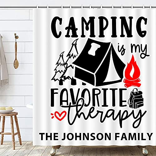 Custom Camp Rv Shower Curtain with Family Name Change,Happy...
