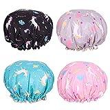 Shower Cap Microfiber Bath Cap - Shower Bonnet Designed for Women and Girls Waterproof Caps Reusable Double Layer Bath Accessories (4 Pack)