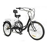 OUKANING Tricycle Adulte de 24 po à 3 Roues et 7 Vitesses de Couleur Noire avec Dossier