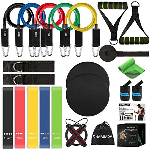 23 Pack Resistance Bands Set Workout Bands, 5 Stackable Exercise...