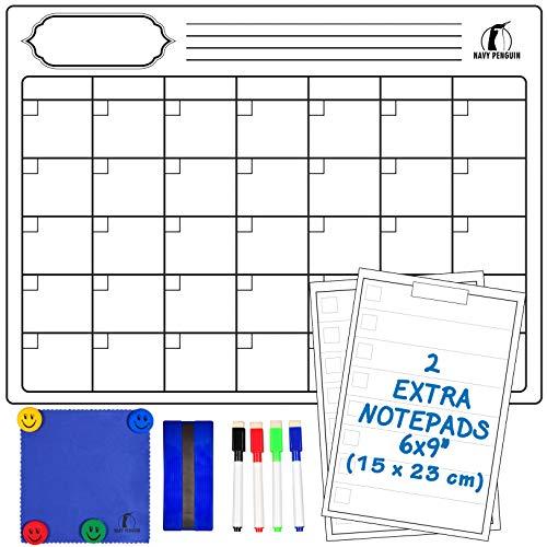 Kit Lavagna Calendario Magnetico Mensile - Lavagnetta Magnetica Calendario 43x33cm + 2 Lista della...