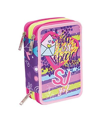 ASTUCCIO scuola SJ GIRL - Bambina - 3 scomparti - Viola - pennarelli matite gomma ecc.