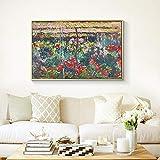 wZUN Peony Garden Printmaking Mural Art Canvas Painting Pintura Famosa Sala de Estar Decoración del hogar Pintura 50x70cm